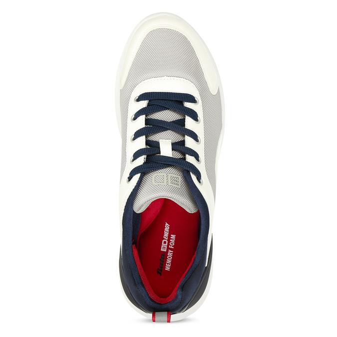 Bílé pánské tenisky s modrými prvky bata-3d-energy, bílá, 849-1604 - 16