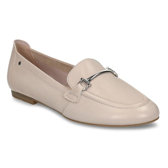 Béžové dámské kožené mokasíny bata, růžová, 514-8600 - 13