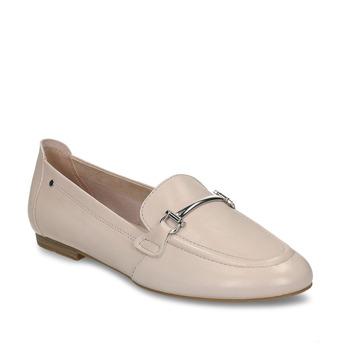 Béžové dámské kožené mokasíny bata, žlutá, 514-8600 - 13