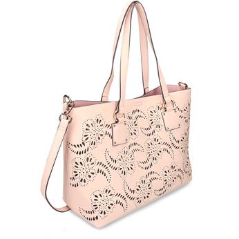 Růžová dámská kabelka s perforací bata, růžová, 961-5677 - 13