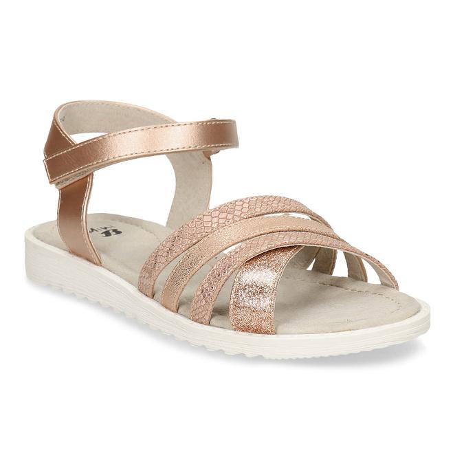 Zlaté dívčí sandály na suchý zip mini-b, zlatá, 321-8618 - 13