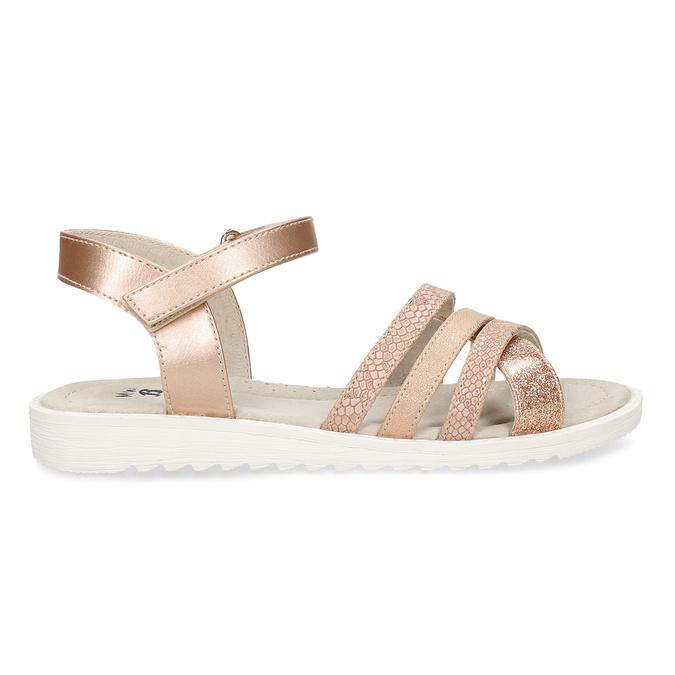 Zlaté dívčí sandály na suchý zip mini-b, zlatá, 321-8618 - 19