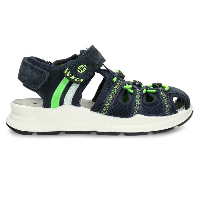 Modré dětské sandály se zelenými prvky a koženým svrškem primigi, modrá, 266-6609 - 19