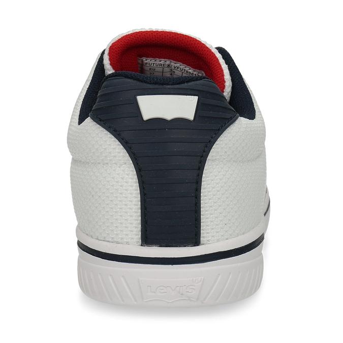 Bílé dětské tenisky na šněrování s červenými a modrými prvky levis, bílá, 419-1604 - 15
