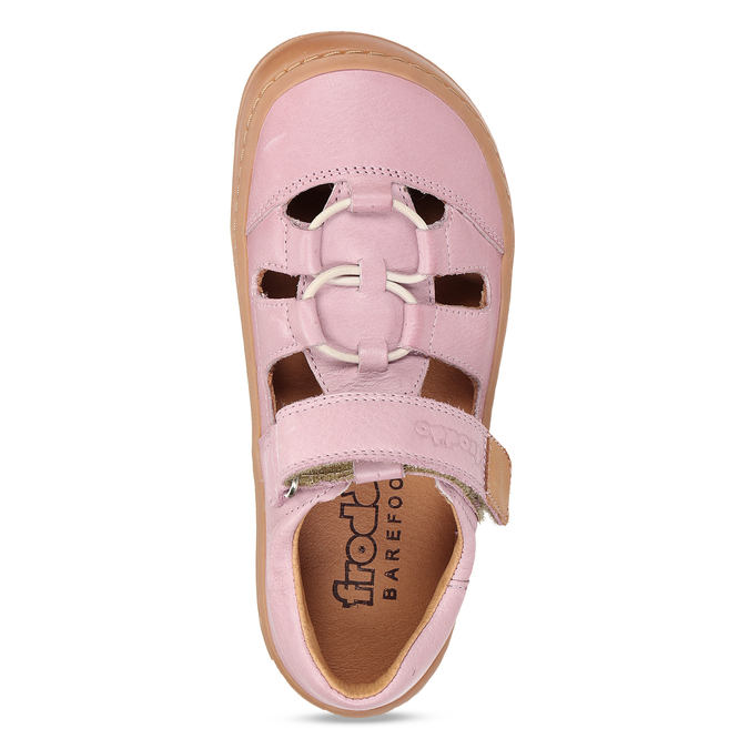 Růžové dětské kožené sandály na suchý zip froddo, růžová, 264-5610 - 17