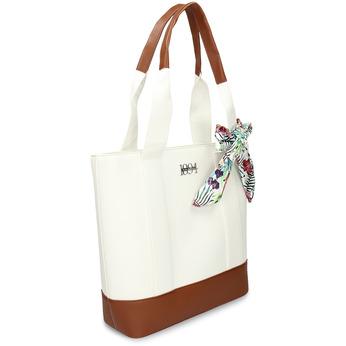 Bílá dámská kabelka střední velikosti s hnědými prvky bata, bílá, 961-0502 - 13