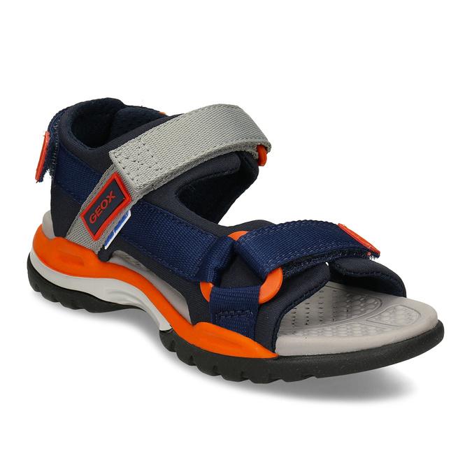 Modré dětské sportovní sandály s oranžovými prvky geox, modrá, 369-9611 - 13