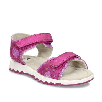 Růžové dívčí kožené sandály se srdíčkem mini-b, fialová, 261-9616 - 13