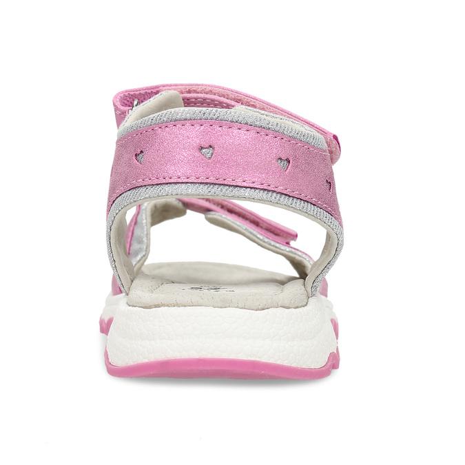 Růžové dívčí kožené sandály se srdcem na straně mini-b, růžová, 261-5616 - 15