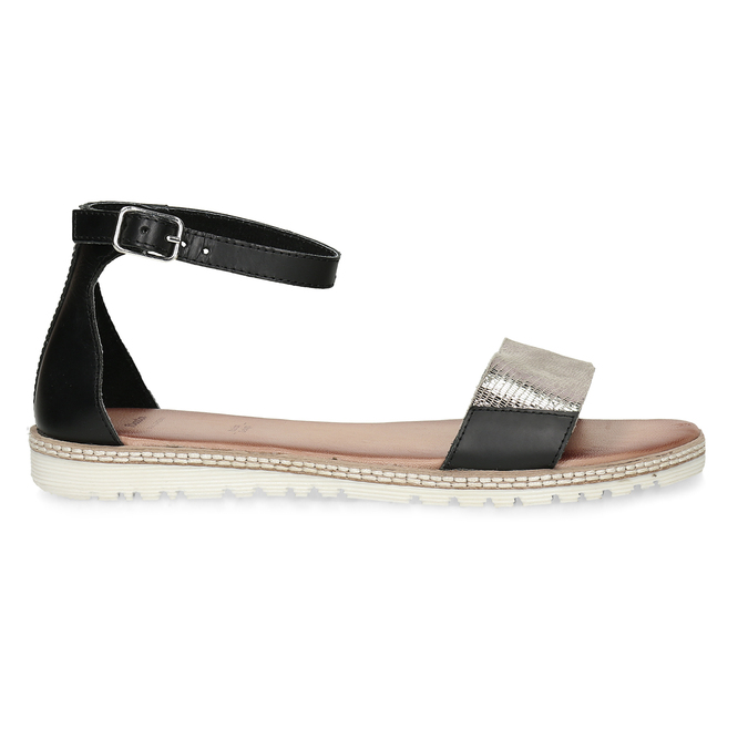 Kožené černé dámské sandály s metalickým vzorem bata, černá, 564-6619 - 19