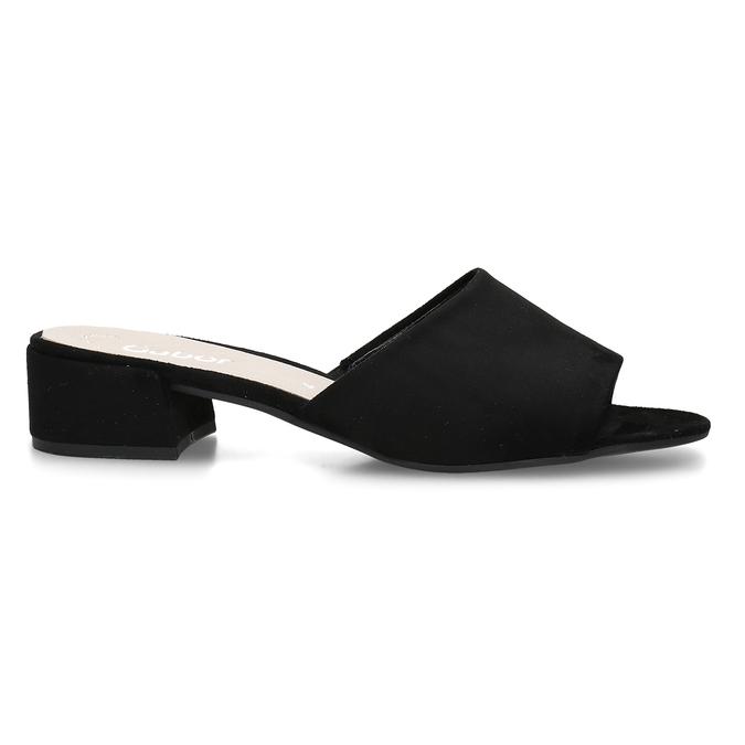 Černé dámské kožené pantofle na nízkém podpatku gabor, černá, 663-6606 - 19