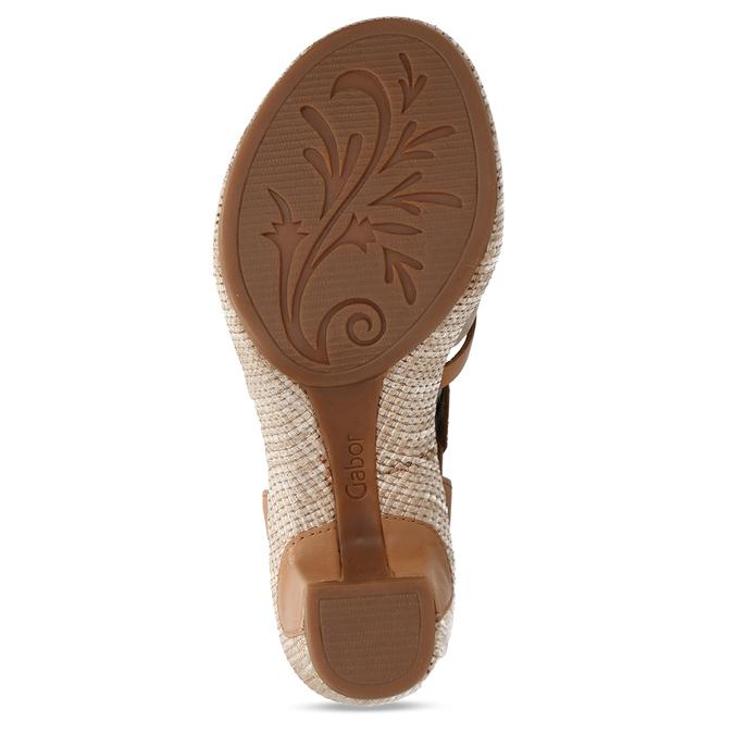 Hnědé dámské kožené sandály na podpatku gabor, hnědá, 666-0600 - 18