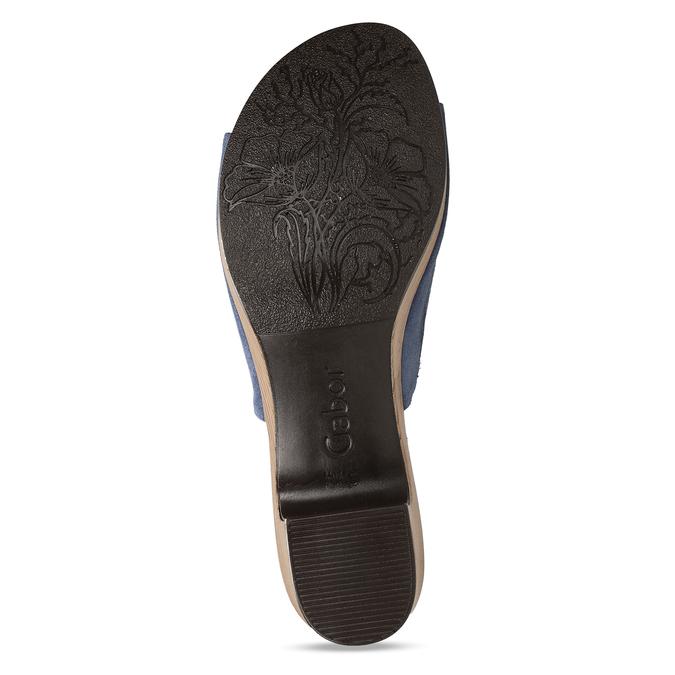 Modré dámské kožené pantofle na podpatku gabor, modrá, 663-9600 - 18