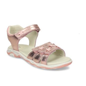 Růžové kožené dívčí sandály s hvězdami mini-b, růžová, 264-5601 - 13
