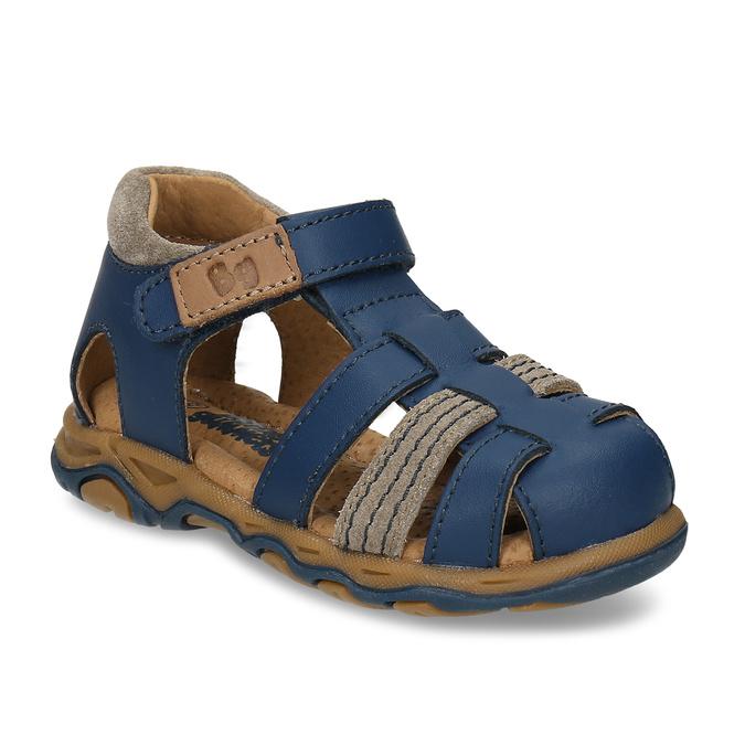 Modré chlapecké kožené sandály s plnou špičkou bubblegummers, modrá, 164-9630 - 13