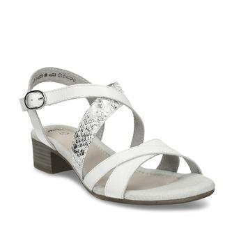 Bílé dámské kožené páskové sandály s hadím vzorem bata, bílá, 664-1623 - 13