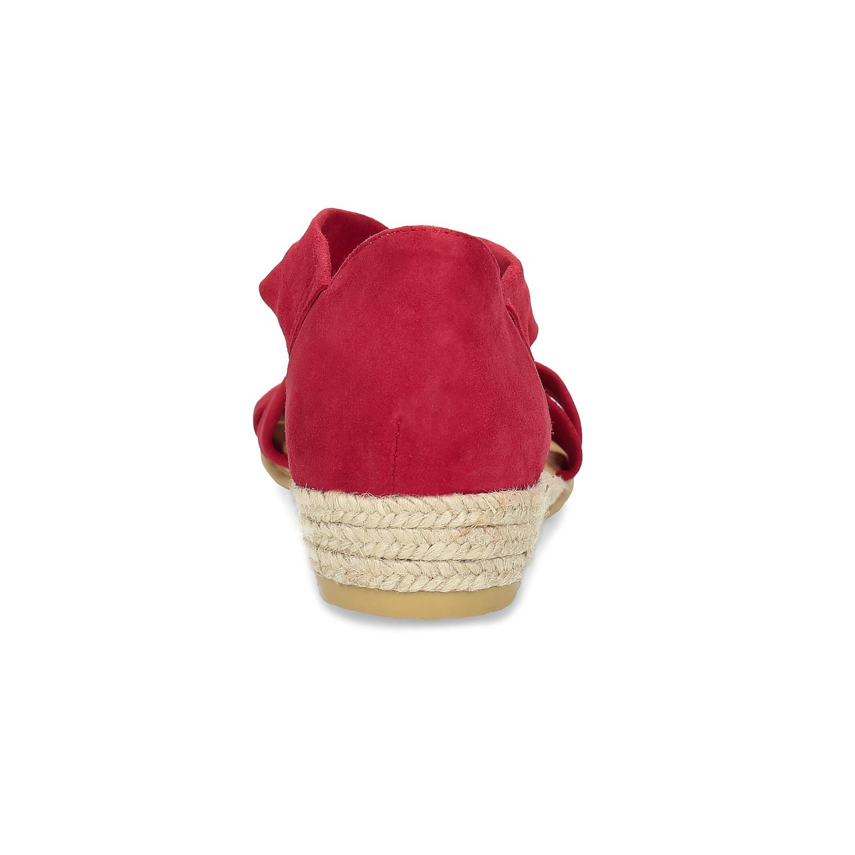 Baťa Červené kožené sandály na klínku - Všechny boty  edaaec9fd0