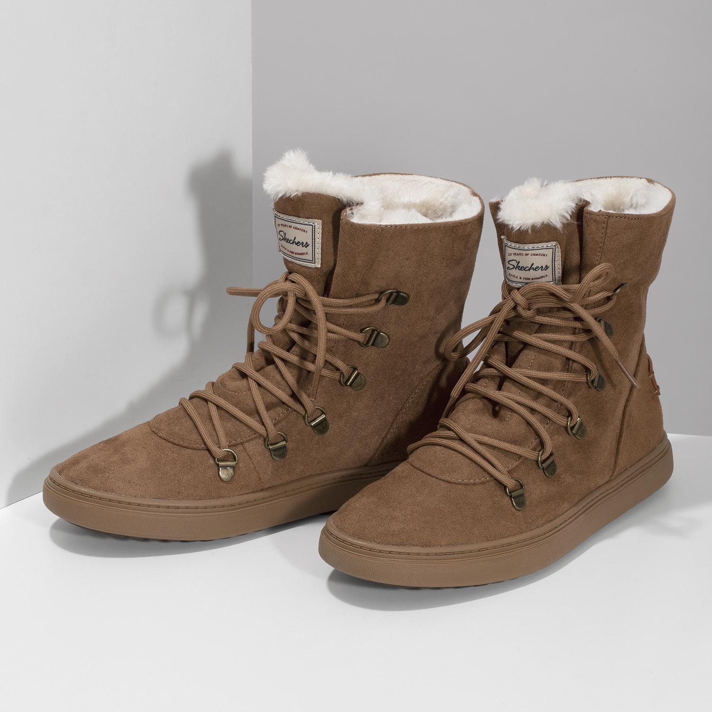 4a908680184 Skechers Hnědá dámská zimní obuv se zateplením - Bez podpatku